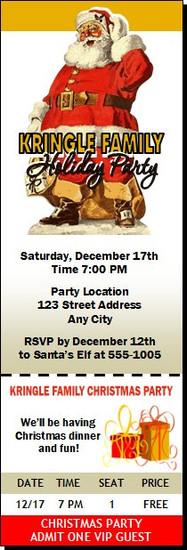 Santa Classic Christmas Party Ticket Invitation