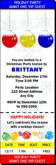 Snowflake Ornament Holiday Party Ticket Invitation