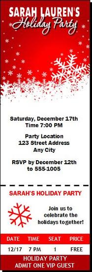 Snowflakes Holiday Party Ticket Invitation