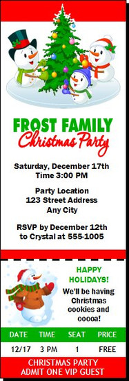 Snowman Family Christmas Party Ticket Invitation