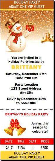 Snowy Night Holiday Party Ticket Invitation