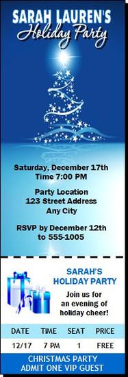 Star Tree on Blue Christmas Party Ticket Invitation