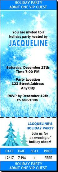 Starry Tree Holiday Party Ticket Invitation
