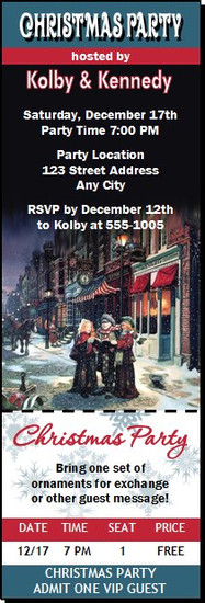 Townsquare Carolers Christmas Party Ticket Invitation