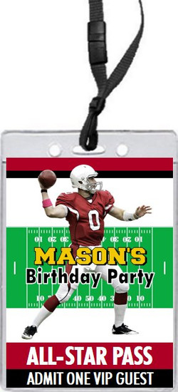 Arizona Cardinals Colored Football VIP Pass Birthday Party Invitation Front