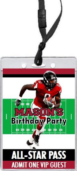 Atlanta Falcons Colored Football VIP Pass Birthday Party Invitation Front