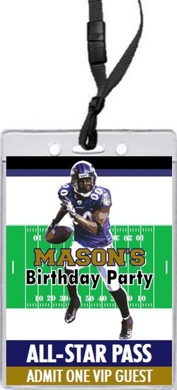Baltimore Ravens Colored Football VIP Pass Birthday Party Invitation Front
