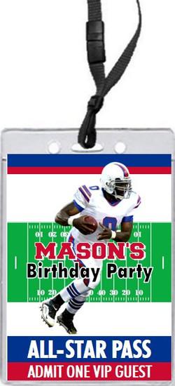 Buffalo Bills Colored Football VIP Pass Birthday Party Invitation Front