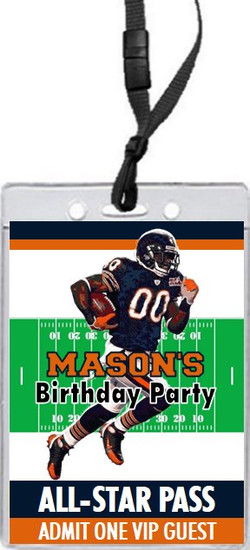 Chicago Bears Colored Football VIP Pass Birthday Party Invitation Front