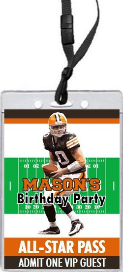 Cleveland Browns Colored Football VIP Pass Birthday Party Invitation Front