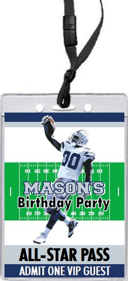 Dallas Cowboys Colored Football VIP Pass Birthday Party Invitation Front