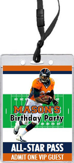 Denver Broncos Colored Football VIP Pass Birthday Party Invitation Front