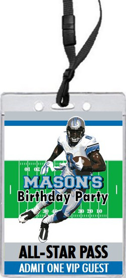 Detroit Lions Colored Football VIP Pass Birthday Party Invitation Front