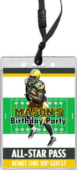 Green Bay Packers Colored Football VIP Pass Birthday Party Invitation Front