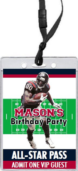 Houston Texans Colored Football VIP Pass Birthday Party Invitation Front