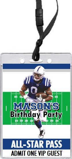 Indiana Colts Colored Football VIP Pass Birthday Party Invitation Front