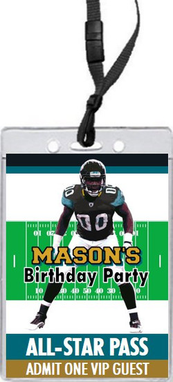 Jacksonville Jaquars Colored Football VIP Pass Birthday Party Invitation Front