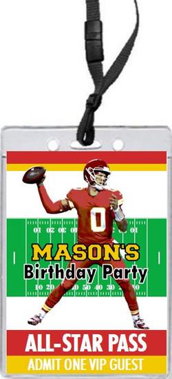 Kansas City Chiefs Colored Football VIP Pass Birthday Party Invitation Front