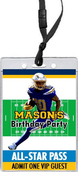Los Angeles Chargers Colored Football VIP Pass Birthday Party Invitation Front