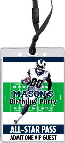 Los Angeles Rams Colored Football VIP Pass Birthday Party Invitation Front