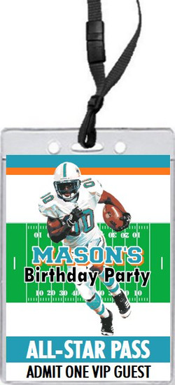 Miami Dolphins Colored Football VIP Pass Birthday Party Invitation Front