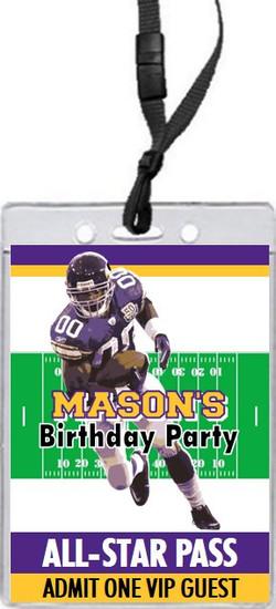 Minnesota Vikings Colored Football VIP Pass Birthday Party Invitation Front