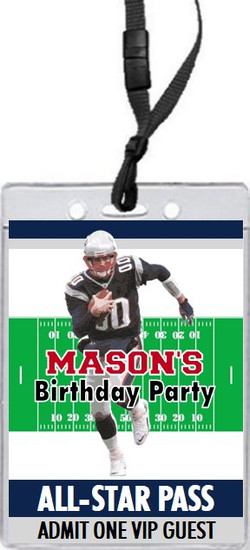 New England Patriots Colored Football VIP Pass Birthday Party Invitation Front