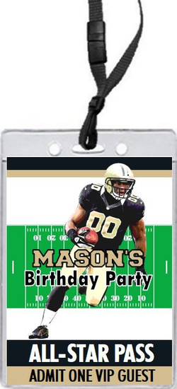 New Orleans Saints Colored Football VIP Pass Birthday Party Invitation Front