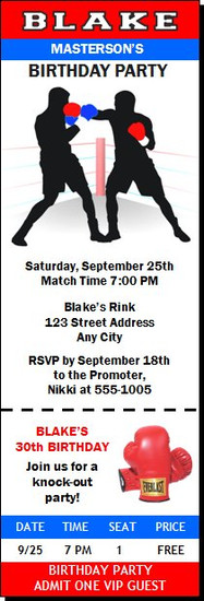 Boxing Birthday Party Ticket Invitation