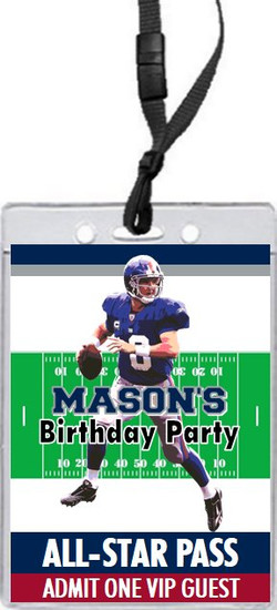 New York Giants Colored Football VIP Pass Birthday Party Invitation Front