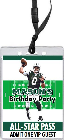 New York Jets Colored Football VIP Pass Birthday Party Invitation Front
