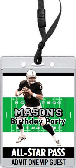 Oakland Raiders Colored Football VIP Pass Birthday Party Invitation Front