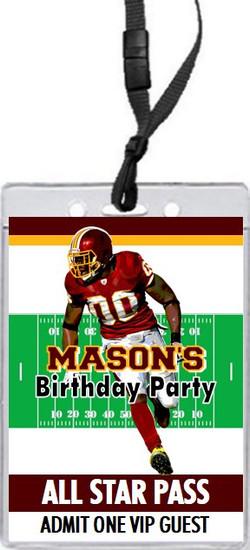 Washington Redskins Colored Football VIP Pass Birthday Party Invitation Front