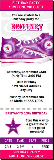All Star Shoes Purple Birthday Party Ticket Invitation