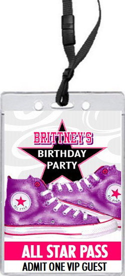 All Star Shoes Purple Birthday Party VIP Pass Invitation Front