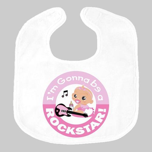 I'm Gonna Be a Rockstar Pink Baby Bib on Gray