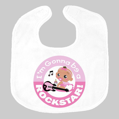 I'm Gonna Be a Rockstar Pink African Baby Bib on Gray