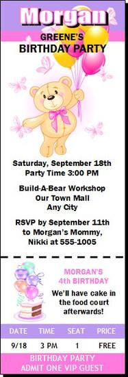Build a Teddy Bear Birthday Party Ticket Invitation Pink