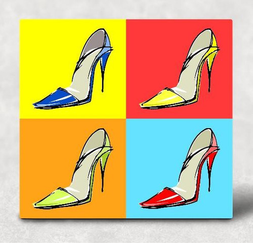 Pop Art Stilettos Hardboard Art Panel Sublimation Printed Wall Art 6 inch