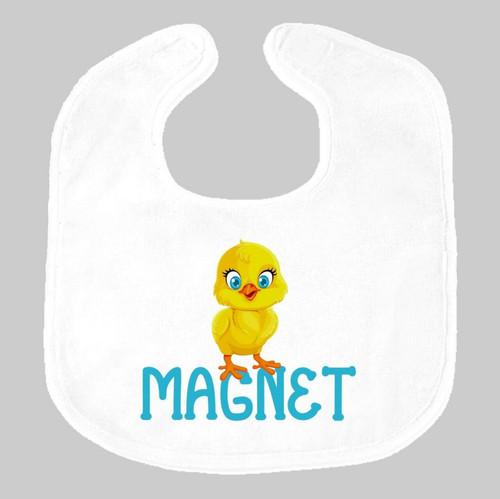 Chick Magnet Baby Bib on Gray