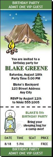 Camping Birthday Party Ticket Invitation