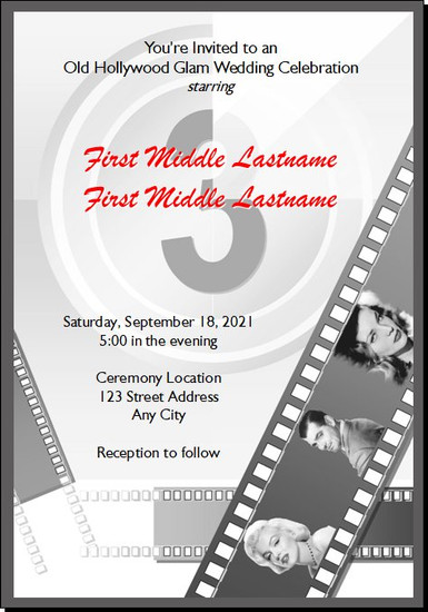 Old Hollywood Movie Reel Wedding Invitations 5x7 Flat