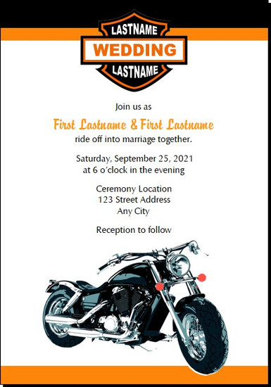 Motorcycle Wedding Invitations 5x7 Flat