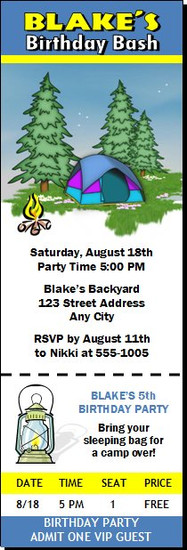 Camping Out Birthday Party Ticket Invitation