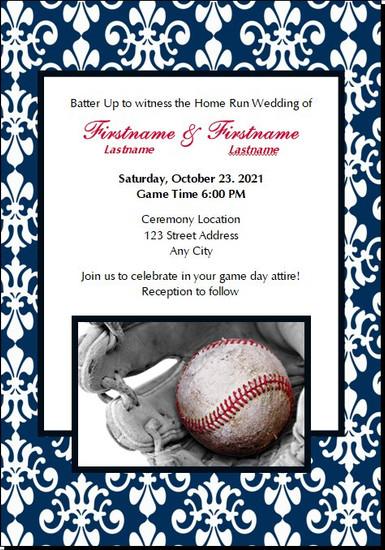 Baseball Damask Wedding Invitations 5x7 Flat