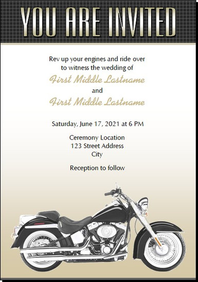Motorcycle BW Wedding Invitations 5x7 Flat