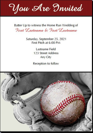 Baseball Wedding Invitations 5x7 Flat