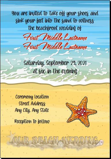 Beach Shoreline Wedding Invitations 5x7 Flat