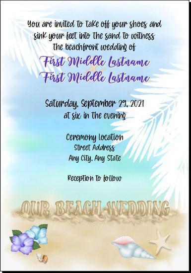 Beach Wedding Invitations 5x7 Flat