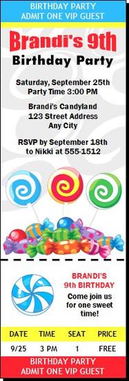 Candyland Birthday Party Ticket Invitation